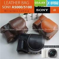 Sony Alpha A5000 & A5100 Leather Bag Case Tas Kamera Mirrorles