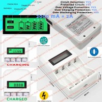 Alat Cas Baterai Charge Battery Rechargeable 4 Slots AA AAA NI MH CD