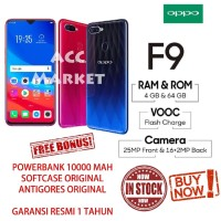 OPPO F9 RAM 4 / 64 GB ROM HP OPO F 9 GARANSI RESMI BUKAN XIAOMI VIVO