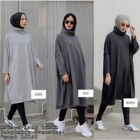Blouse hitam / Baju hangat / Pakaian jumbo murah : Arisya Long tunik