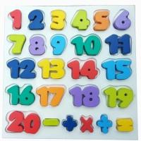 Mainan Edukasi Puzzle Kayu Nobie Chunky Angka 1-20 SNI Awet