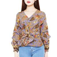 Batik Flike Store Atasan Wanita Puff Sleeve Blouse Amethyst Ivy