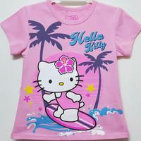Baju kaos karakter anak perempuan hello kitty pink muda 7-10
