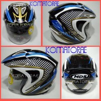 HELM MDS PROJET 2 MOTIF 6 WHITE BLUE DOUBLE VISOR HALF FACE Stock Te