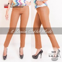 EXCLUSIVE Celana Kerja Stretch Legging size S M L XL Denim Coklat Mud