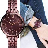 Fossil ES4100 Jacqueline Three-Hand Date Red Patterned Original