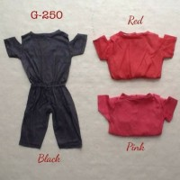 Pakaian setelan anak perempuan jumpsuit pundak bolong anak bayi pere