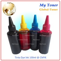 1 set TINTA DYE INK KOREA canon REFILL PRINTER HP 100ML CAIR cmyk