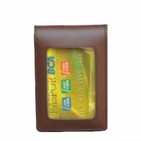 TEMPAT ID CARD HOLDER / NAME TAG MAGNET KULIT SAPI ASLI SUPER COKLAT