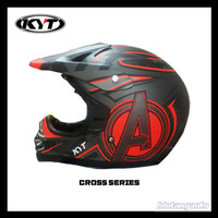 HELM FULL FACE KYT CROSS PRO AVENGER GUN METAL MATT RED FLUO