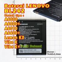 Baterai LENOVO A6000 plus A6010 A6600 plus BL242 BL 242 batre batere