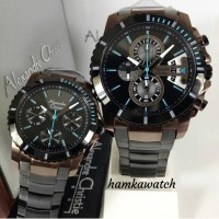 jam tangan couple alexander cristie ac6455 original black brown