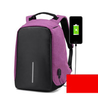Tas ransel laptop besar backpack unisex canvas charger usb hitam ungu