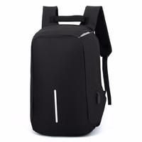 Tas ransel laptop besar backpack unisex canvas charger usb black hitam