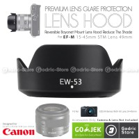 Lens Hood Canon EW-53 EF-M 15-45mm IS STM Lensa Kit 49mm M10 M3 M6 etc
