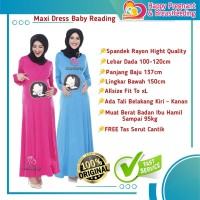 Baju Hamil Modis Maxi Dress BabyReading Daster Gamis Ibu Hamil momoty