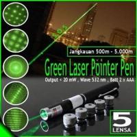 5in1 Laser Pointer Pen Green Light with 5 Patterns Pena Diskon