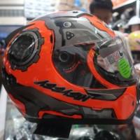 Helm Full Face NJS 806 Orange Fluo