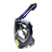 Masker Snorkeling Full Face Dry Snorkeling Mask 4th Gen - NAVY L/XL