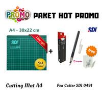 Paket Cutting Mat A4 + Pen Cutter