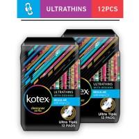 2 Pack Kotex Ultrathins Wings 12's