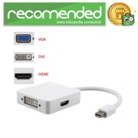 3 in 1 Mini Display Port to HDMI VGA DVI Adapter - Putih