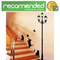 Stiker Hiasan Dinding Popular Ancient Lamp Cats and Birds - Hitam