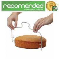 Pemotong Kue Adjustable Wire Cake Cutter Slicer Leveler - Silver