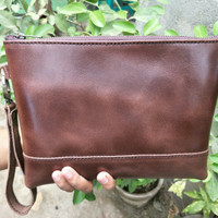 HandBags / Clutch Bag / Pouch Kulit Pull Up Dark Brown