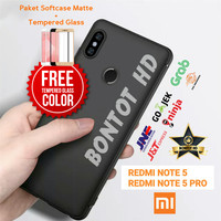 PAKET CASE CASING FREE TEMPERED GLASS XIAOMI REDMI NOTE 5 / PRO NOTE5