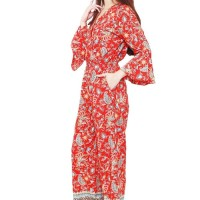 Batik Flike Store Jumpsuit Wanita Long Bell Sleeve Red Peacock