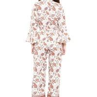 Batik Flike Store Jumpsuit Wanita Long Bell Sleeve Glamour White