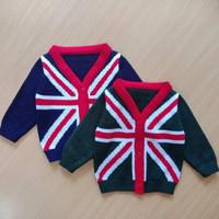 Sweater anak england hitam merah rajut
