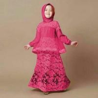 busana muslim gamis anak perempuan bordir bunga model terbaru murah