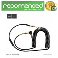 Hoco UPA02 Spring AUX Flexible Cable 3.5mm 2 Meter with Mic - Hitam