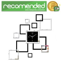 Jam Dinding DIY Quartz Creative Design Model Abstract Square - Hitam