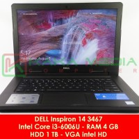 Laptop Desain Dell Inspiron 14 Core i3-6006U Skylake RAM 4 GB HDD 1 TB