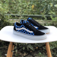 Sepatu Vans Oldskool Checkerboard Blue Black - Made In China Waffle DT