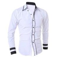 Diskon - Hem Randhy White Ot Pakaian Pria Kemeja Slim Fit Warna Putih