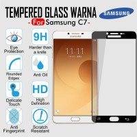 Samsung Galaxy C7 Tempered Glass Warna Full Cover Screen Guard Colour