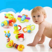9Pcs/Set Rattle Teether+Tempat Simpan Bentuk Botol Susu untuk Bayi