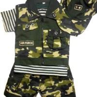 Baju Setelan Bayi Tentara Rompi Pisah+Topi - Cool Army Murah