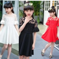 Baju Gaun Pesta Dress Anak Cewek Hitam Putih Simple Brukat Import