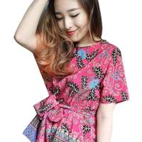 Batik Flike Store Atasan Wanita Ribbon Blouse Pink Pulpy