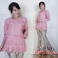 Setelan Kebaya Brukat Full Puring Dusty Pink ada Pilihan Warna