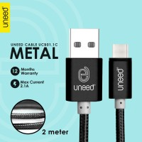 UNEED Nylon Kabel Data Type C 2M Max Current 2.1A - UCB01.1C