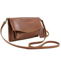 Sling and Clutch Pullup Julia Brown - Kenes Leather