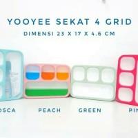 Kotak Makan Yooyee 4 Sekat/Lunch Box 4 Grid Anti Bocor
