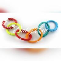 Baby Teether Rainbow Rings Gantungan Mainan Toys