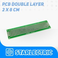 PCB lubang Double Layer Through Hole 2X8 cm FR4 Prototype Dua Sisi